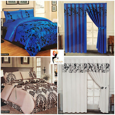 4 pcs Impero Romano Damask Complete Bedding Set Duvet Cover Bed sheet Curtains