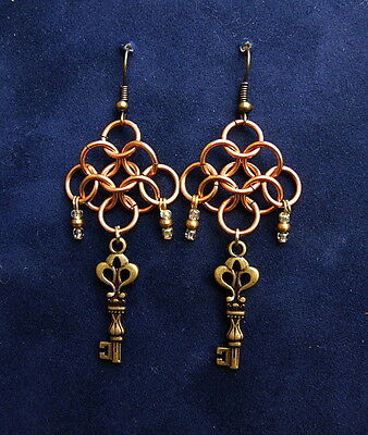 Brass Key Chainmail Earrings Game of Thrones Steampunk LOTR Fantasy Pagan SCA