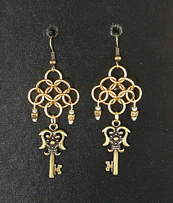 Game of Thrones Chainmail Brass Key Earrings Steampunk LOTR Fantasy Pagan SCA