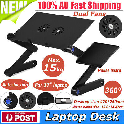 Adjustable Simple Laptop Desk Table Stand Holder Cooling Mouse Board 110lbs