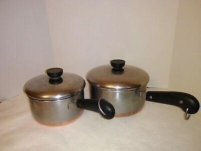 Lot of 2  Vintage Revere Ware Pots Copper Bottom Pan Stainless Steel & Lids