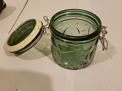 Wire Bale Lock Lid, Green Glass Canister Air Tight Cookie Jar + Rubber Seal