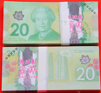 100Pc Play Money 20 Canadian dollars Full Print Double Sided Size Fake Replica