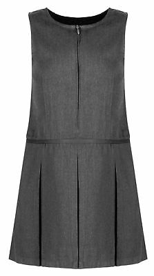 Girls Grey Pleated School Zip Pinafore Dress Teflon Uniform ages 4 -13 yrs