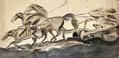 After George Stubbs, The Fall of Phaethon - Original 1828 watercolour painting