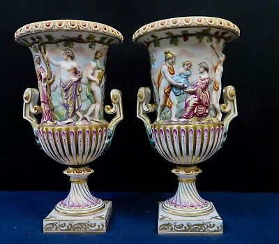 Vintage Pair of 19th Century German Porcelain Urns