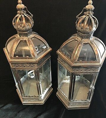 Pair Large Lanterns Candle Holder Indoor Outdoor French Antique Vintage Style