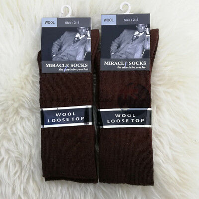 6 Pairs 2-8 LOOSE TOP MERINO WOOL SOCKS Dress Medical Circulation BULK Brown