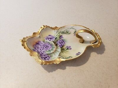 Antique Hand Painted Violets Porcelain Artist Signed Handled Tray!
