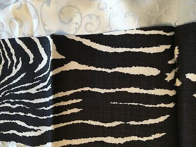 """Brunschwig & Fils Le Zebre Black and White Linen Quilting Fabric  54"""" x 7 """""""