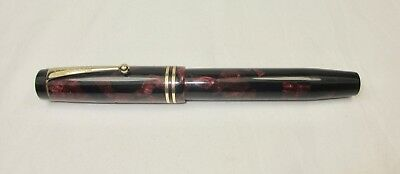 Vintage Original Large Burgundy Black Marble Geo S Parker Duofold Fountain Pen
