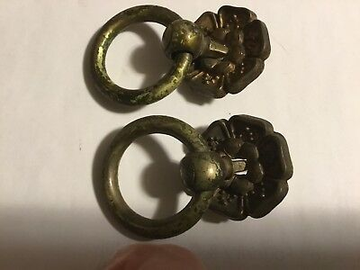 Nice Pair Antique Hand Made Victorian Brass Drop Handle Drawer Pulls