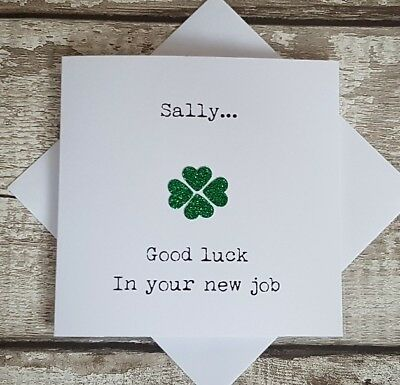 Personalised good luck in your new job card / handmade good luck card