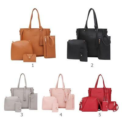 4pcs Litchi Leather Crossbody Bag Tassel Women Tote Shoulder Handbag Clutch Card