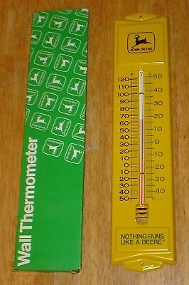 Vintage NOS John Deere Tin / Metal Advertising Thermometer Sign w/ Original Box