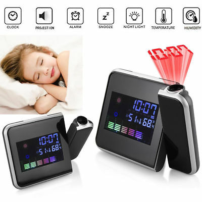 Digital LED Projection Alarm Clock Weather LCD Snooze Color Display Backlight