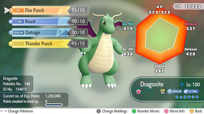 Pokemon Let's Go Pikachu & Eevee -  Shiny dragonite - 6IV