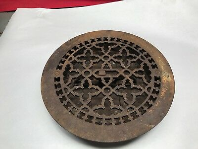 "Antique Round 10"" 3/4 Cast Iron Floor Heat Vent Grate Register Louvers"