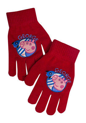 Boys Girls Kids Warm Peppa Pig George Character Gloves Ages 2-8 Years One Size