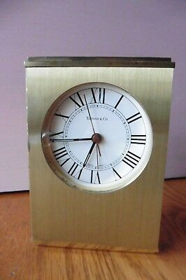 Tiffany & Co Mantle Desk Clock Brass Swiss Made Alarm Clock Vintage