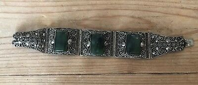 "ANTIQUE Vintage JADE JADEITE CHINESE Silver FILIGREE Bracelet 6.75"" Long"