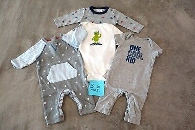 3- 6 Mos Carter's Jockey Short Long Sleeve Rompers Bodysuits LOT Boy Clothes