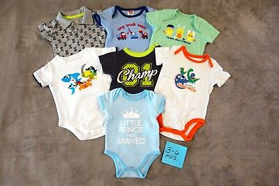 7 3- 6 Mos Short Sleeve Bodysuits LOT Baby Boy Clothes