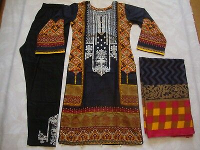 Gul Ahmed Lilen Suit black Embroidered Asian Ready Made 2018 Pakistani Indian