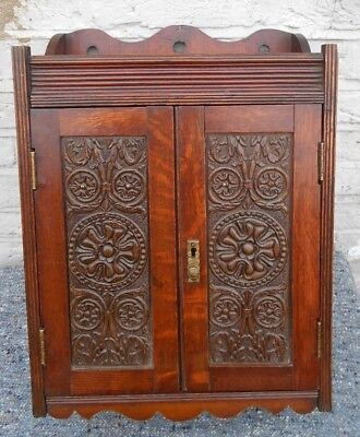Antique Carved Oak Wall Cupboard Smokers Cabinet