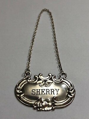 "Vintage Wallace Sterling Silver ""Sherry"" Liquor Tag Label For Decanter"