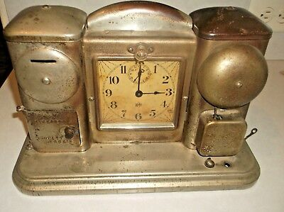 Antique Fireproof Safety Deposit Bank 1910 Darche Alarm Clock With Light