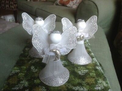 Vintage Christmas ANGELS 3 Wire Mesh Tulle Netting Wings Gown Chenille Glitter