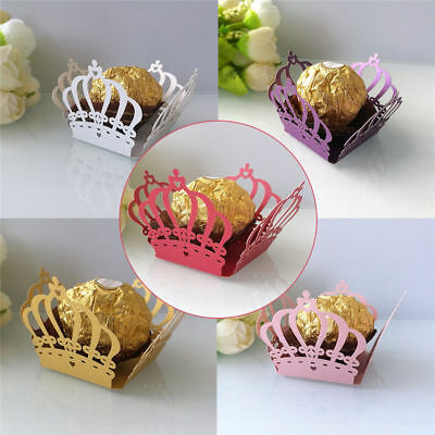 50Pcs Crown Chocolate Wrapper Wedding Party Favor Gift Candy Bar Box Decoration