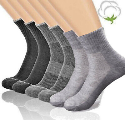 New 3-12 Pairs Men's Sports Athletic Crew Socks Cotton Black White Gray Solid