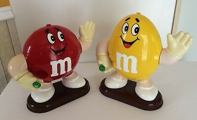 Vintage 1991 M&M Candy Dispenser Lot Of 2 Red Yellow Plastic Mars Incorporated
