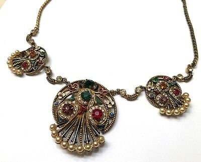 GORGEOUS Art Deco Egyptian Revival Rhinestone Enamel and Pearl Antique Necklace