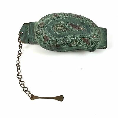Antique Bronze Copper Betel Nut Lime Boteh Shape Hinged Box w Chased Decoration