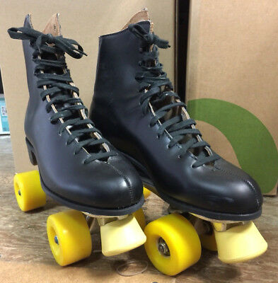 Roller Skates Riedell Red Wing MN. USA Black Leather SZ 9 Mens w/Box Vintage