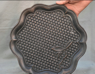 """12"""" Old China Ebony Black Wood Carved Dynasty bamboo weaving Leaf Plate Tray"""