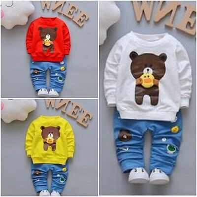 Toddler Boys Clothing Sets Baby Cotton Infant Tracksuits Kids Sport Cartoon Bear