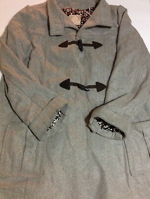 Old Navy XL Gray Maternity Wool Blend Pea Coat Pockets Winter Warm