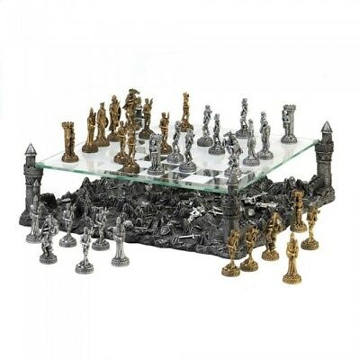 Modern Chess Set, Dark Battleground Medieval War Table Game Chess Set Large