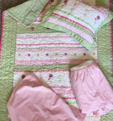 Pottery Barn Baby pink flowers quilt Pink Gingham pillow crib skirt girl