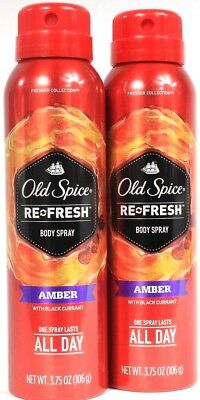 2 Ct Old Spice 3.75 Oz Re Fresh Amber Black Currant Lasts All Day Body Spray