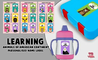American Animals Personalised Name Label for Kids, dishwashable, microwaveable