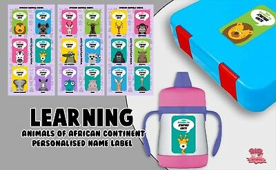 African Animals Personalised Name Label for Kids, dishwashable, microwaveable