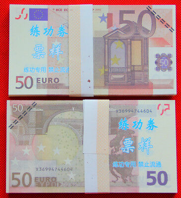 100Pcs Play Money 50€ euro bills Full Print Double Sided Size Fake Replica