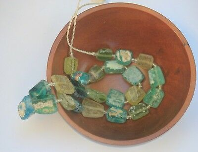 Ancient Roman Glass Old Square Beads 18 th Century Necklace 20 pcs Random Mixed