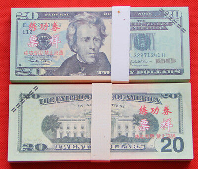 20$  Dollar Prop Money Full Print 2 Sided Play Bills Real Looking Realistic
