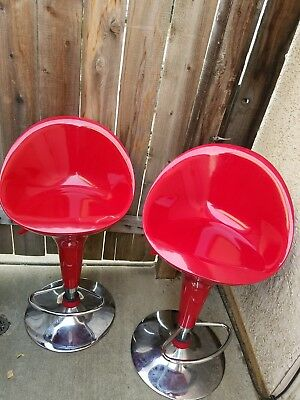 Red Retro Dining Chairs Chrome Vintage 50's Diner Style Seats SET OF 2